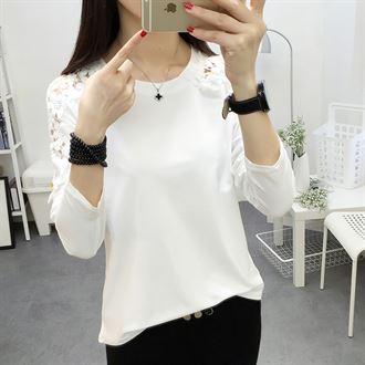 白色长袖t恤女纯棉外穿秋衣秋装修身蕾丝韩版秋冬加绒打底衫上衣