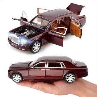 合金车模 仿真1 24劳斯莱斯幻影汽车模型摆件 男孩可六开门玩具车