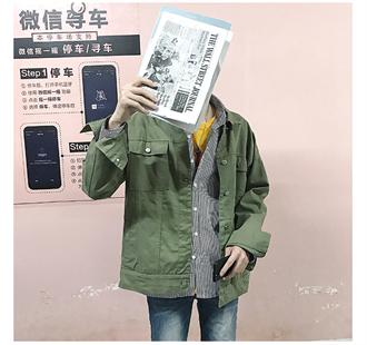 韩版17秋季新品基础款纯色休闲工装夹克薄款宽松男士上衣外套潮流